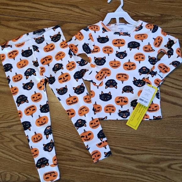 Toddler Girls Carters Black Cat Halloween 2 pc Long Sleeve Pajamas Set 12 mths